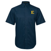 Navy Twill Button Down Short Sleeve-E - Offical Logo