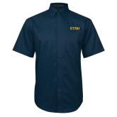 Navy Twill Button Down Short Sleeve-ETSU