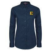 Ladies Navy Twill Button Down Long Sleeve-E - Offical Logo