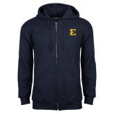 Navy Fleece Full Zip Hoodie-E - Offical Logo