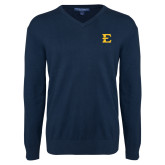Classic Mens V Neck Navy Sweater-E - Offical Logo