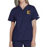 Ladies Navy Two Pocket V Neck Scrub Top-E - Offical Logo