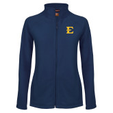 Ladies Fleece Full Zip Navy Jacket-E - Offical Logo
