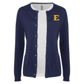 Ladies Navy Cardigan-E - Offical Logo