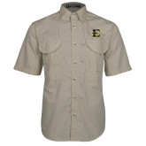 Khaki Short Sleeve Performance Fishing Shirt-E - Offical Logo