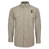 Khaki Long Sleeve Performance Fishing Shirt-E - Offical Logo