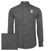Mens Dark Charcoal Crosshatch Poplin Long Sleeve Shirt-E - Offical Logo
