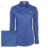 Ladies Deep Blue Tonal Pattern Long Sleeve Shirt-ETSU