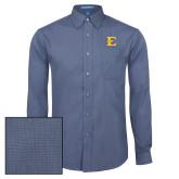 Mens Deep Blue Crosshatch Poplin Long Sleeve Shirt-E - Offical Logo