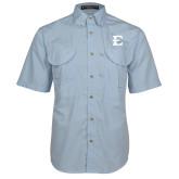Light Blue Short Sleeve Performance Fishing Shirt-E - Offical Logo