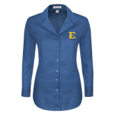 Ladies Red House Deep Blue Herringbone Non Iron Long Sleeve Shirt-E - Offical Logo