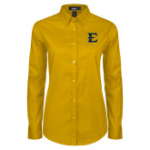 Ladies Gold Twill Button Down Long Sleeve-E - Offical Logo