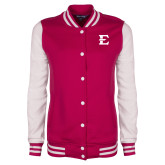Ladies Pink Raspberry/White Fleece Letterman Jacket-E - Offical Logo