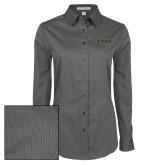 Ladies Grey Tonal Pattern Long Sleeve Shirt-ETSU