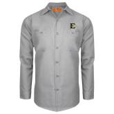 Red Kap Light Grey Long Sleeve Industrial Work Shirt-E - Offical Logo