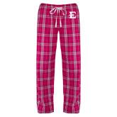 Ladies Dark Fuchsia/White Flannel Pajama Pant-E - Offical Logo