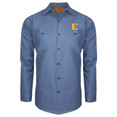 Red Kap Postman Blue Long Sleeve Industrial Work Shirt-E - Offical Logo