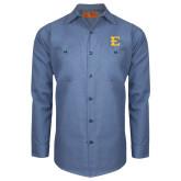 Red Kap Postman Blue Long Sleeve Industrial Work Shirt-E - Offical Logo