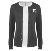 Ladies Charcoal Cardigan-E - Offical Logo
