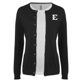 Ladies Black Cardigan-E - Offical Logo