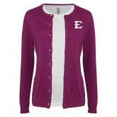 Ladies Deep Berry Cardigan-E - Offical Logo