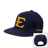 Navy Flat Bill Snapback Hat-E - Offical Logo