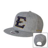 Heather Grey Wool Blend Flat Bill Snapback Hat-E - Offical Logo