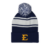 Navy/White Two Tone Knit Pom Beanie with Cuff-E - Offical Logo