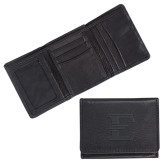 Canyon Tri Fold Black Leather Wallet-E - Offical Logo Engrave