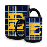Full Color Black Mug 15oz-E w/ Tartan Pattern