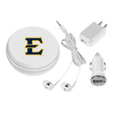 3 in 1 White Audio Travel Kit-E - Offical Logo