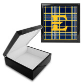 Ebony Black Accessory Box With 6 x 6 Tile-E w/ Tartan Pattern