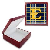Red Mahogany Accessory Box With 6 x 6 Tile-E w/ Tartan Pattern
