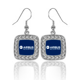 Crystal Studded Square Pendant Silver Dangle Earrings-Airbus Helicopters