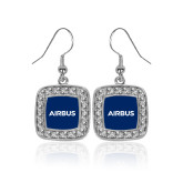 Crystal Studded Square Pendant Silver Dangle Earrings-Airbus