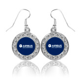 Crystal Studded Round Pendant Silver Dangle Earrings-Airbus Helicopters