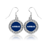 Crystal Studded Round Pendant Silver Dangle Earrings-Airbus