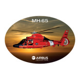 Large Decal-USCG MH65 In Sunset Over Ocean, 12 inches wide