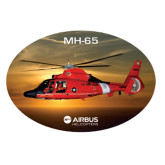 Extra Large Decal-USCG MH65 In Sunset Over Ocean, 18 inches wide