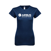 Next Level Ladies SoftStyle Junior Fitted Navy Tee-Airbus Helicopters