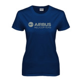 Ladies Navy T Shirt-Airbus Helicopters Silver Soft Glitter