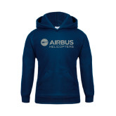 Youth Navy Fleece Hood-Airbus Helicopters Silver Soft Glitter
