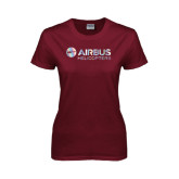 Ladies Maroon T Shirt-Airbus Helicopters Foil