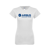 Next Level Ladies SoftStyle Junior Fitted White Tee-Airbus Helicopters