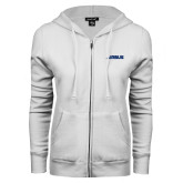 ENZA Ladies White Fleece Full Zip Hoodie-Airbus