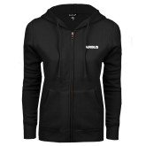 ENZA Ladies Black Fleece Full Zip Hoodie-Airbus