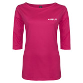 Ladies Dark Fuchsia Perfect Weight 3/4 Sleeve Tee-Airbus