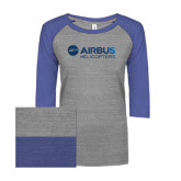 ENZA Ladies Athletic Heather/Surfer Blue Vintage Triblend Baseball Tee-Airbus Helicopters Foil
