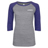 ENZA Ladies Athletic Heather/Blue Vintage Baseball Tee-Airbus