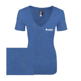 Next Level Ladies Vintage Royal Tri Blend V-Neck Tee-Airbus Helicopters